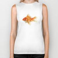 goldfish Biker Tanks featuring Goldfish by dailydunners