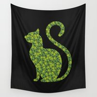 gem Wall Tapestries featuring Gem Cat by Alisa Galitsyna