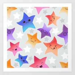 Kawaii stars Art Print
