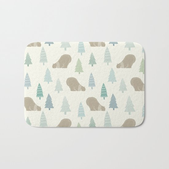 Merry Christmas Polar bear - Animal pattern Bath Mat