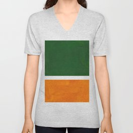 Forest Green Yellow Ochre Mid Century Modern Abstract Minimalist Rothko Color Field Squares Unisex V-Neck