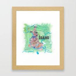 USA Idaho State Illustrated Travel Poster Favorite Map Framed Art Print