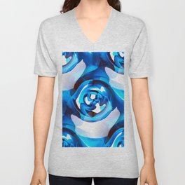 Minimalism Contemporary Abstract in Royal Blue Unisex V-Neck