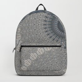 Decorative Textured Grey Blue Mandala Backpack