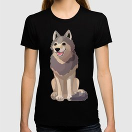 Happy gray wolf. Vector graphic character T-shirt