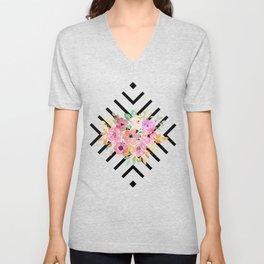 Watercolor floral and geometric diamond design Unisex V-Neck