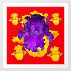 Decorative Modern Red Purple Iris Color Golden Pattern  Art Art Print