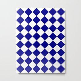 Large Diamonds - White and Dark Blue Metal Print