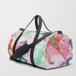 Watercolor women runner pattern with red mint and dark purple Duffle Bag