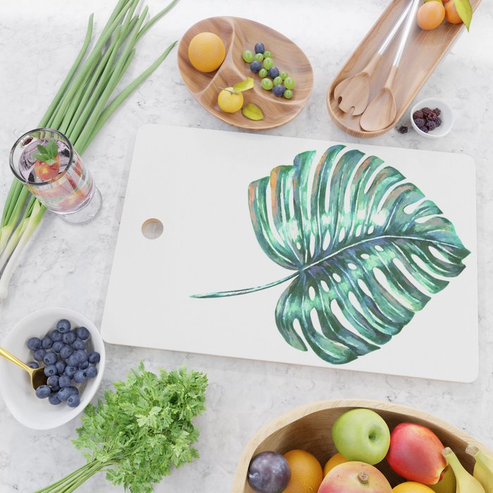 Monstera leaf green tropical watercolor Cutting Board