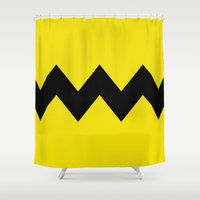 charlie brown Shower Curtains featuring Charlie Brown by Dustin Hall