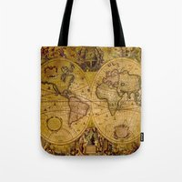 "vintage map Tote Bags featuring VintaGe Map by ""CVogiatzi."