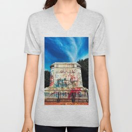 Stonewall Jackson Monument after BLM Protests and Statue was Removed Richmond Virginia Unisex V-Neck