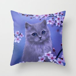 Spring kitten Throw Pillow
