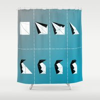 penguin Shower Curtains featuring PENGUIN by ARCHIGRAF