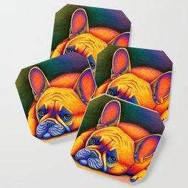 Colorful French Bulldog Rainbow Dog Pet Portrait Coaster