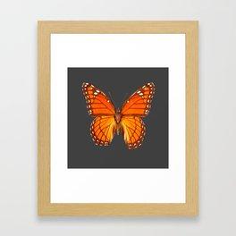 CHARCOAL GREY ORANGE MONARCH BUTTERFLY Framed Art Print