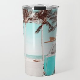 Retro Camper Van With Surf Board Travel Mug