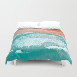 The Break - Turquoise Sea Pastel Pink Beach III Duvet Cover