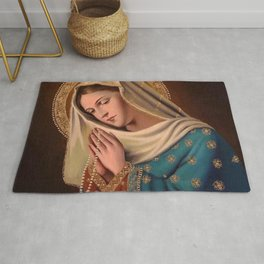Mother Of God Mary & Baby Jesus Rug