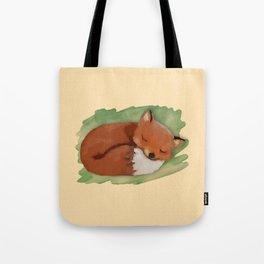 Sleepy Watercolor Fox Tote Bag