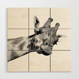 Black and white giraffe Wood Wall Art
