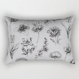 Botanink Pattern Grey Rectangular Pillow