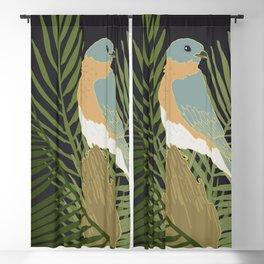 Birds and Botanicals Bluebird and Bamboo Palm Blackout Curtain