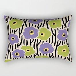 Mid Century Modern Wild Flowers Pattern Purple and Green Rectangular Pillow