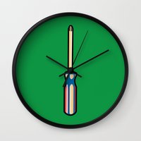 sonic Wall Clocks featuring Sonic Screwdriver by Kody Christian