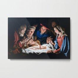 Adoration of the Shepherds Christmas Nativity Metal Print