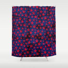Red stars on grunge textured blue background Shower Curtain