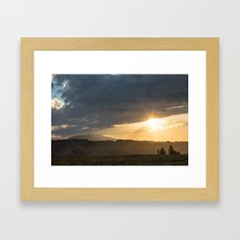 Yellowstone National Park - Sunset, Blacktail Deer Plateau Framed Art Print