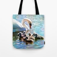 aelwen Tote Bags featuring CYG-NIFICANT by Catspaws