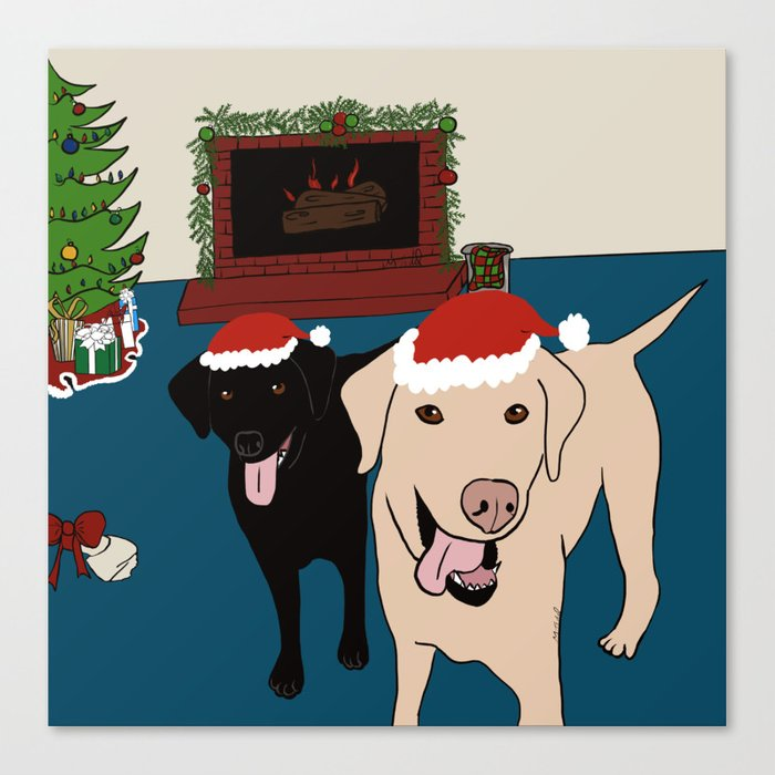 Labs Love Christmas! Canvas Print