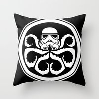hydra Throw Pillows featuring Hydra Trooper by Don Calamari