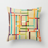 mondrian Throw Pillows featuring The map (after Mondrian) by Picomodi