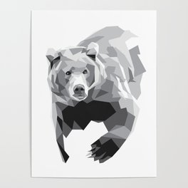 Geometric Bear on White Poster
