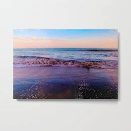 beach sunset with beautiful blue cloudy sky and blue wave in summer Metal Print
