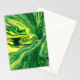 Elegant Crazy Agate 5 - Green and Yellow Stationery Cards