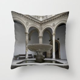 Spanish Patio with Moorish Fountain Throw Pillow