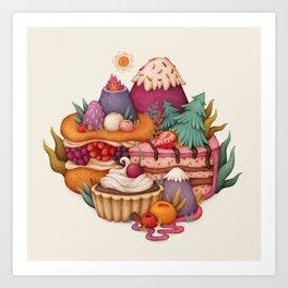 Sweet Hills. Pastry, desserts. Art for cafe, kitchen, bakery Art Print