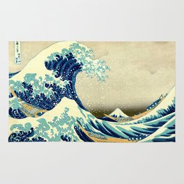 the great wave Rug