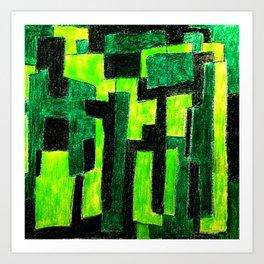 Three Green Puzzle Art Print
