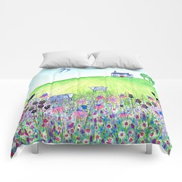 Summer Meadow, landscape painting Comforters