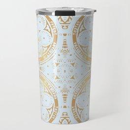 power of one: powder blue + copper Travel Mug