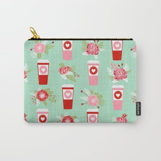 Coffee valentines day gifts mint and pink floral bouquet flowers pattern print Carry-All Pouch