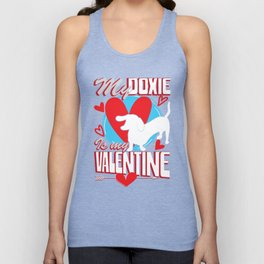 My Doxie Is My Valentine Funny Dog Lover T-Shirt Unisex Tank Top