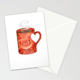 roses heart handle mug - coffee cup series Stationery Cards