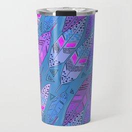 The colorful feathers on blue background . Travel Mug